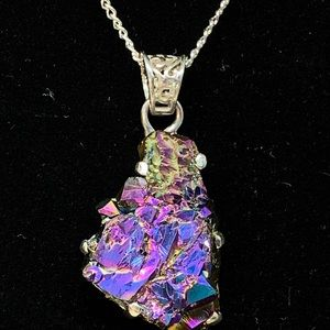 Crystal Silver Titanium Pendant Necklace